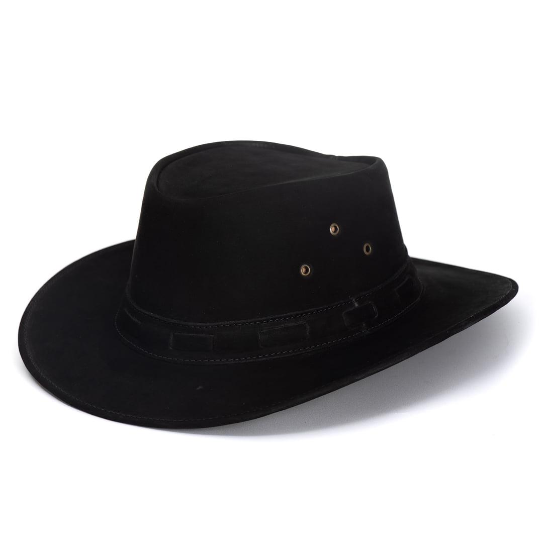 Chapéu Em Couro Liso Modelo Australiano Preto L Jacó  BLACK FRIDAY