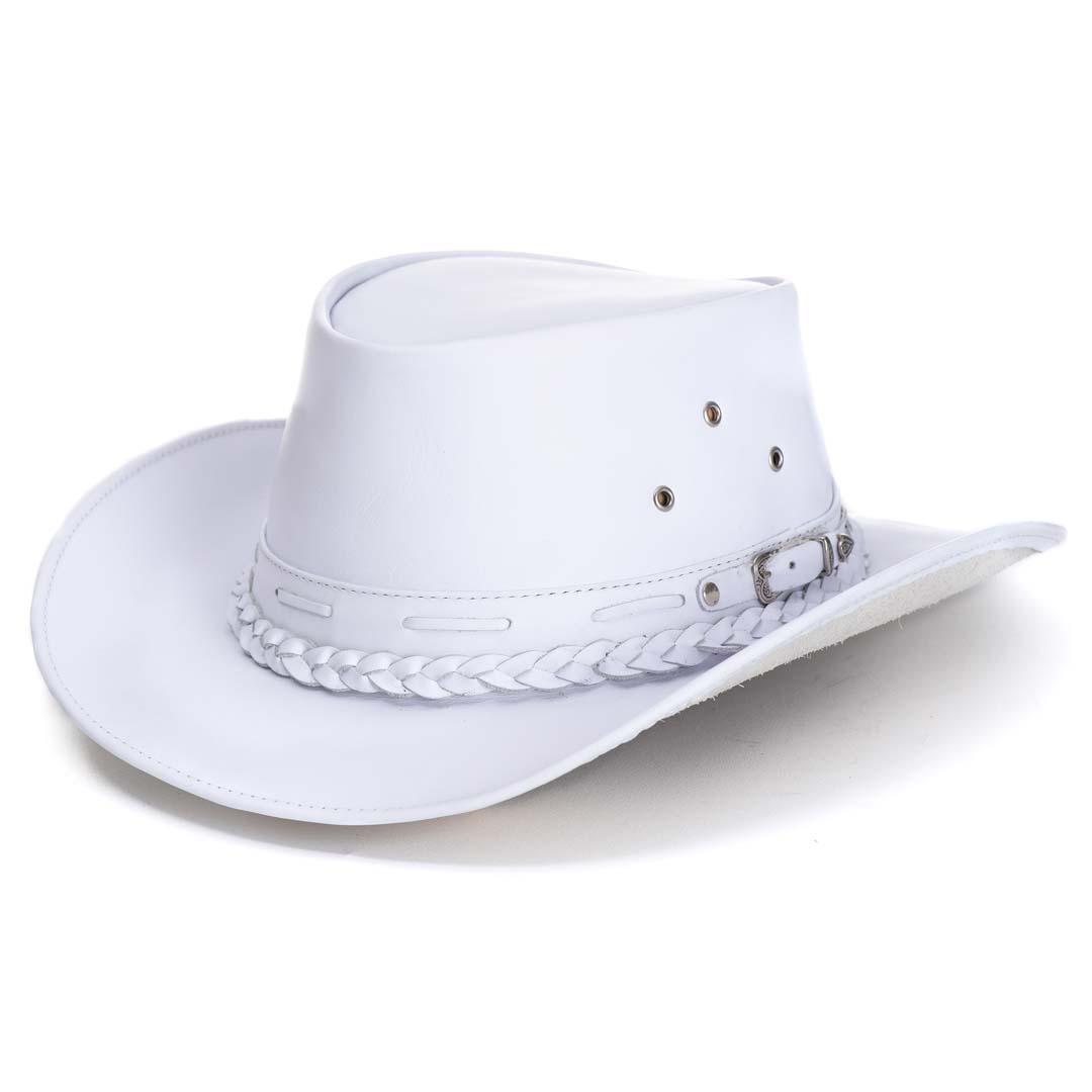 Chapéu Em Couro Modelo Australiano Branco L Jacó BLACK FRIDAY