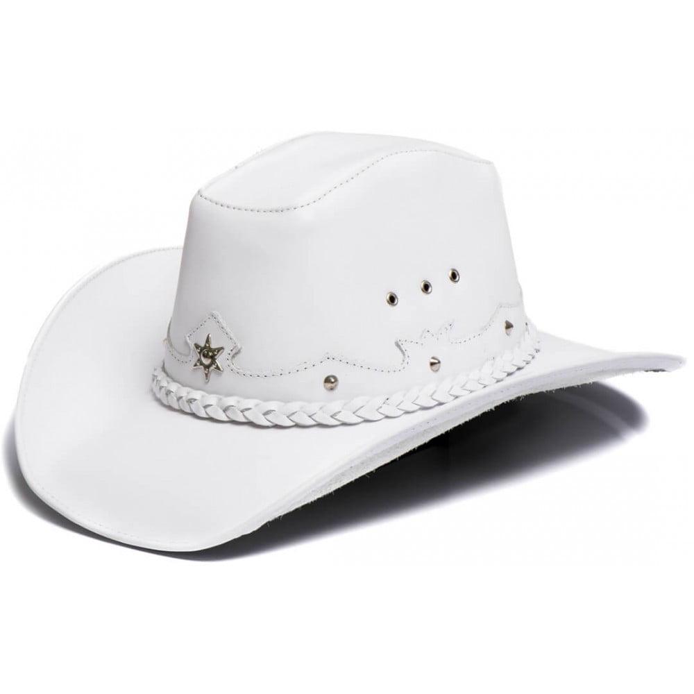 Chapéu Em Couro Legítimo Americano Star Branco L Jacó Am-355