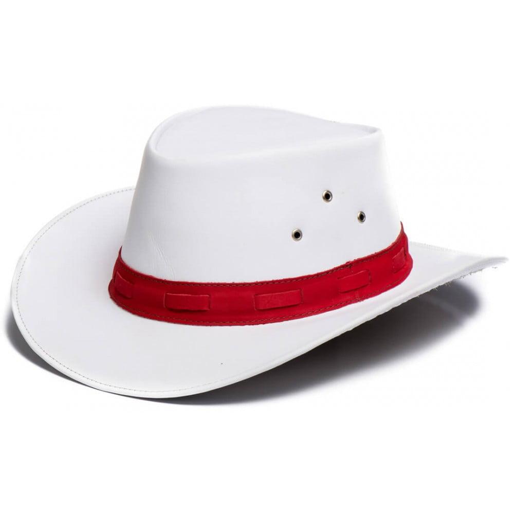 Chapéu Em Couro Modelo Australiano Branco C/ Vermelho L Jacó Au-319