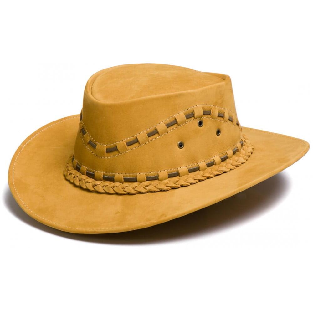 Chapéu Em Couro Modelo Australiano Caramelo L Jacó Au-324