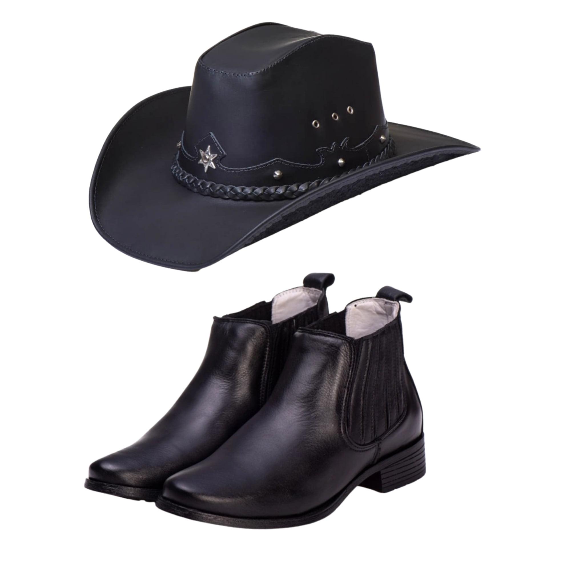 Kit Country clássico Botina + chapéu