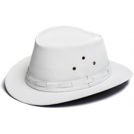 Chapéu Em Couro Liso Modelo Aba Curta Branco L Jacó So-349