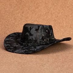 Chapéu Em Couro Aba Larga Curva Camuflado AL-808 BLACK FRIDAY