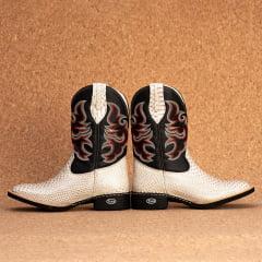 Bota Texana Bico quadrado Couro bovino anaconda gelo- TX802