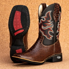 Bota Texana Bico quadrado Couro bovino anaconda marrom - TX802
