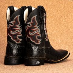 Bota Texana Bico quadrado Couro bovino anaconda Preta - TX802