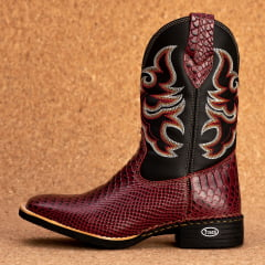 Bota Texana Bico quadrado Couro bovino anaconda Vinho - TX802