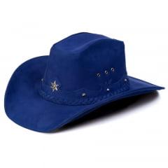 Chapéu Em Couro Legítimo Americano Star Azul L Jacó Am-369