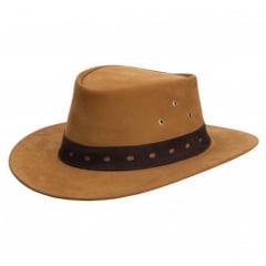 Chapéu Em Couro Modelo Australiano Caramelo Com Marrom L Jacó Au-403
