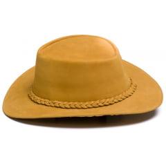 Chapéu Em Couro Modelo Australiano Caramelo L Jacó Au-321
