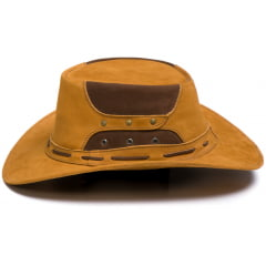 Chapéu Em Couro Modelo Australiano Caramelo L Jacó Au-325
