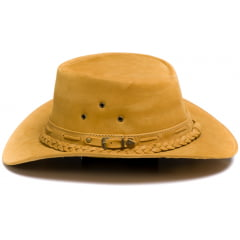 Chapéu Em Couro Modelo Australiano Caramelo L Jacó Au-349