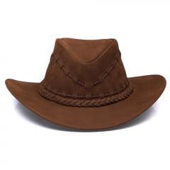 Chapéu Em Couro Modelo Texano Chocolate L Jacó TX-459