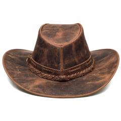 Chapéu Em Couro Modelo Texano Marrom Envelhecido L Jacó TX-451