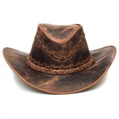 Chapéu Em Couro Modelo Texano Marrom Envelhecido L Jacó TX-456