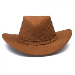Chapéu Em Couro Modelo Texano Marrom L Jacó TX-457