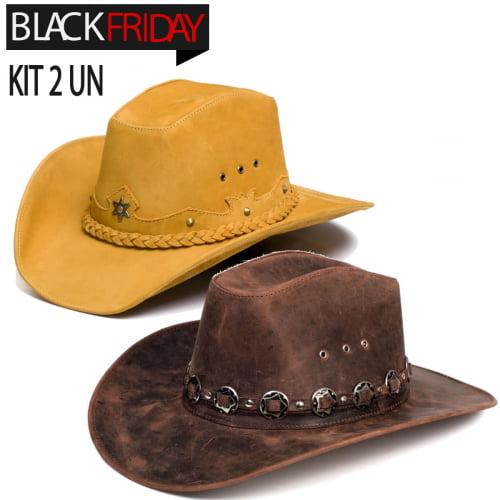 kit 2 chapéus americano star Nobuck e rock americano