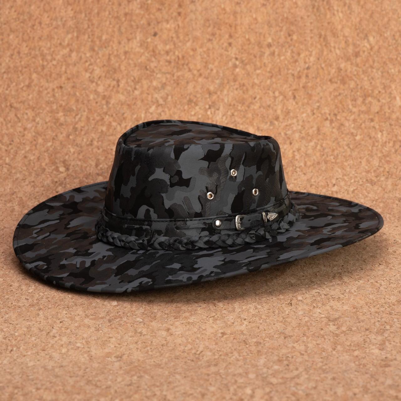 Kit 3 chapéus Rock aba caída, aba curta e aba larga
