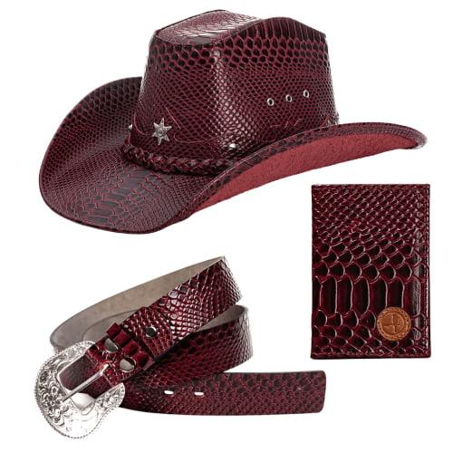 Kit Bota chapéu e Porta cartão em couro  -  L Jacó